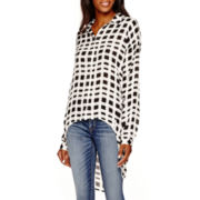 a.n.a® Long-Sleeve High-Low Button-Front Blouse - Tall