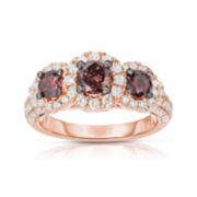 True Love, Celebrate Romance® 2 CT. T.W. Champagne & White Diamond 3-Stone Ring