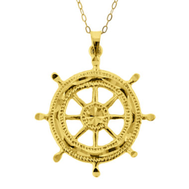 jcpenney.com | 10K Yellow Gold Ship Wheel Pendant Necklace