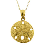 10K Yellow Gold Cutout Sand Dollar Pendant Necklace
