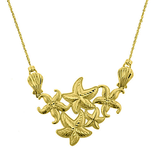 10K Yellow Gold Diamond-Cut Starfish Cluster Pendant Necklace