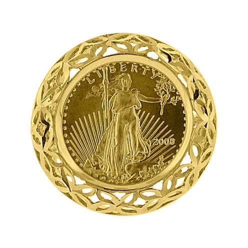 14K Yellow Gold 1/10 oz. Diamond-Cut Liberty Dollar Coin Ring
