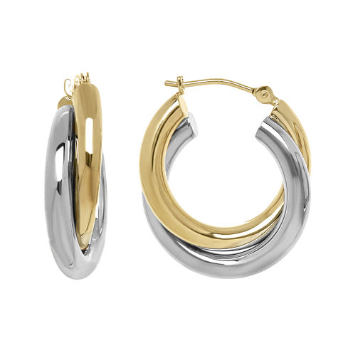 Infinite Gold™ 14K Two-Tone Gold 20mm Hollow Double-Hoop Earrings