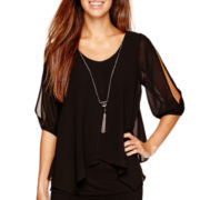 by&by Split-Sleeve Chiffon Necklace Top
