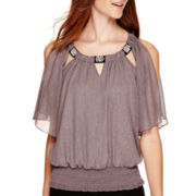 by&by Split-Sleeve Chiffon Jeweled-Neck Top