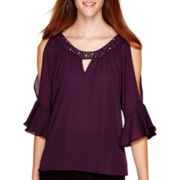 by&by Bell-Sleeve Cold-Shoulder Neck-Trim Top