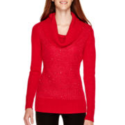 By & By Long-Sleeve Sequin Cowlneck Sweater