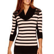 by&by 3/4-Sleeve Striped Lace-Shoulder Cowlneck Sweater