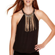 XOXO® Sleeveless Woven Fringe-Necklace Halter Top