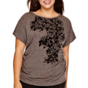 by&by Short-Sleeve Side-Cinched Graphic Top - Plus