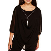 by&by Long-Sleeve Chiffon Drape-Front Necklace Top - Plus