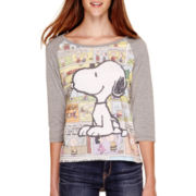Peanuts Raglan-Sleeve Snoopy T-Shirt