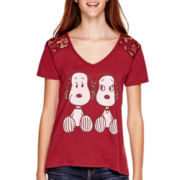 Peanuts Short-Sleeve Snoopy and Belle Lace-Back T-Shirt
