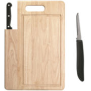 Ginsu® Essentials Series Cutting Board with Santoku Knife + BONUS Paring Knife
