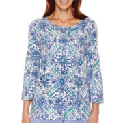 Alfred Dunner® Aurora Borealis 3/4-Sleeve Print Top