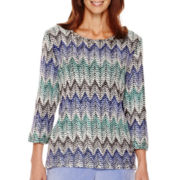 Alfred Dunner® Aurora Borealis 3/4-Sleeve Novelty Top