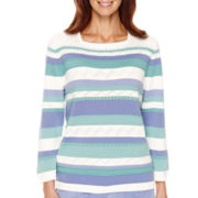 Alfred Dunner® Aurora Borealis Long-Sleeve Striped Sweater