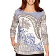 Alfred Dunner® Copenhagen 3/4-Sleeve Paisley Top