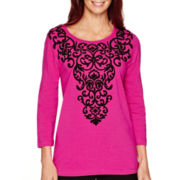 Alfred Dunner® 3/4-Sleeve Scroll Yoke Top