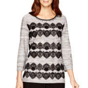 Alfred Dunner® 3/4-Sleeve Lace Trim Top