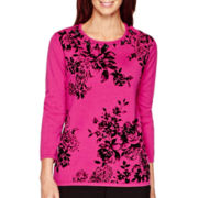 Alfred Dunner® 3/4-Sleeve Floral Sweater
