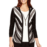 Alfred Dunner® 3/4-Sleeve Striped Layered Sweater