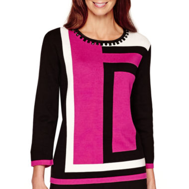 jcpenney.com | Alfred Dunner® 3/4-Sleeve Colorblock Sweater