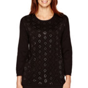 Alfred Dunner® 3/4-Sleeve Beaded Sweater