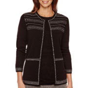 Alfred Dunner® 3/4-Sleeve Studded Cardigan