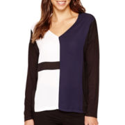 i jeans by Buffalo Faux Leather-Sleeve Cowlneck Top