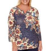 Alfred Dunner® El Dorado 3/4-Sleeve Floral Top - Plus