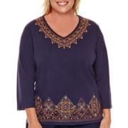 Alfred Dunner® El Dorado 3/4-Sleeve Tribal Embroidery Top - Plus