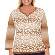 Alfred Dunner® El Dorado 3/4-Sleeve Textured Sweater - Plus