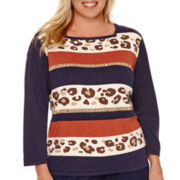 Alfred Dunner® El Dorado 3/4-Sleeve Novelty Sweater - Plus