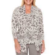 Alfred Dunner® Copenhagen 3/4-Sleeve Animal Print Layered Top - Plus