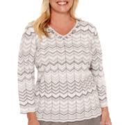 Alfred Dunner® Copenhagen Long-Sleeve Glitter Sweater - Plus