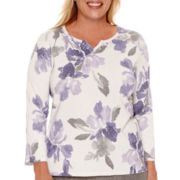 Alfred Dunner® Copenhagen 3/4-Sleeve Floral Sweater - Plus