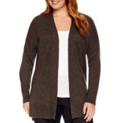 Liz Claiborne® Long-Sleeve Split-Hem Open-Front Cardigan - Plus