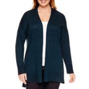 Liz Claiborne® Long-Sleeve Split-Hem Open-Front Cardigan - Plus