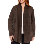 Liz Claiborne® Long-Sleeve Ribbed-Trim Cardigan - Plus