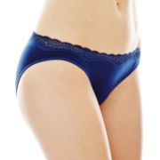 Ambrielle® Everyday Lace-Trim Seamless Bikini Panties