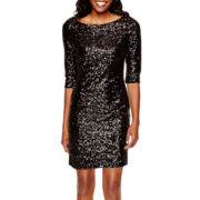 Crystal Sky Elbow-Sleeve Allover Sequin Short Dress