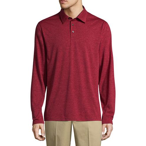 St. John's Bay Long Sleeve Melange Polo Shirt