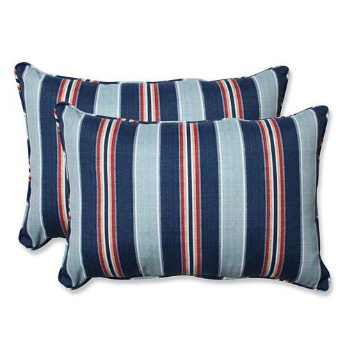 Pillow Perfect Kingston Stripe Arbor Rectangular Outdoor Pillow - Set of 2