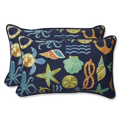 Pillow Perfect Seapoint Rectangular Outdoor Pillow- Set of 2