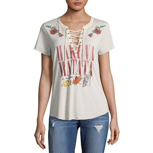 Short Sleeve V Neck The Lion King Graphic T-Shirt