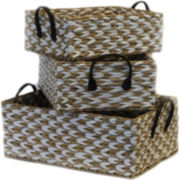 Baum-Essex 3-Piece Two-Tone Rush Storage Baskets