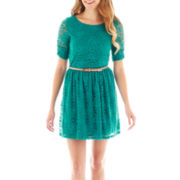 by&by 3/4-Sleeve Belted Lace Dress