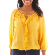 St. John's Bay® 3/4-Sleeve Ruffled Peasant Top