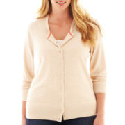 jcp™ Long-Sleeve Crewneck Cardigan Sweater - Plus